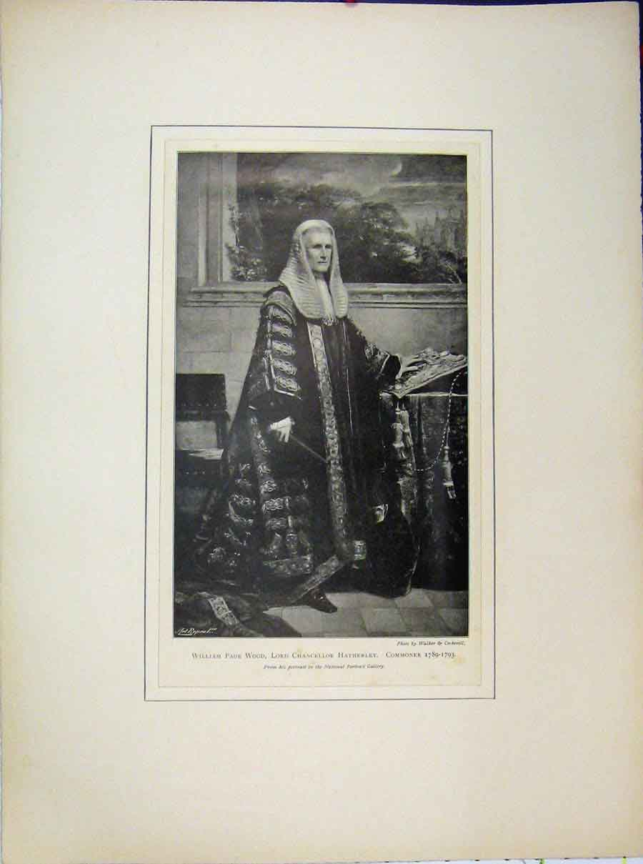 Print 1789 William Page Wood Lord Chancellor Hatherley 626A189 Old Original