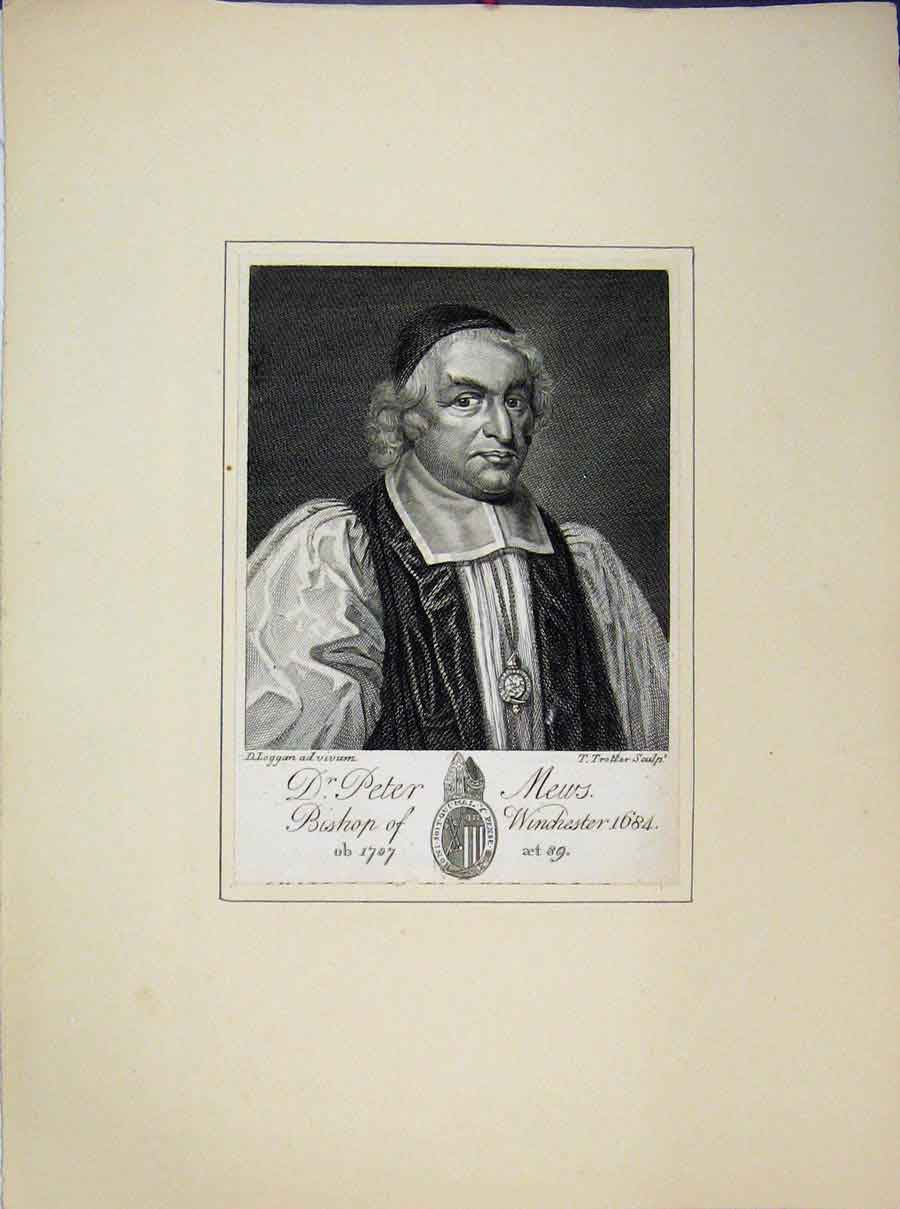 Print Portrait St Peter Bishop News Winchester 630A189 Old Original