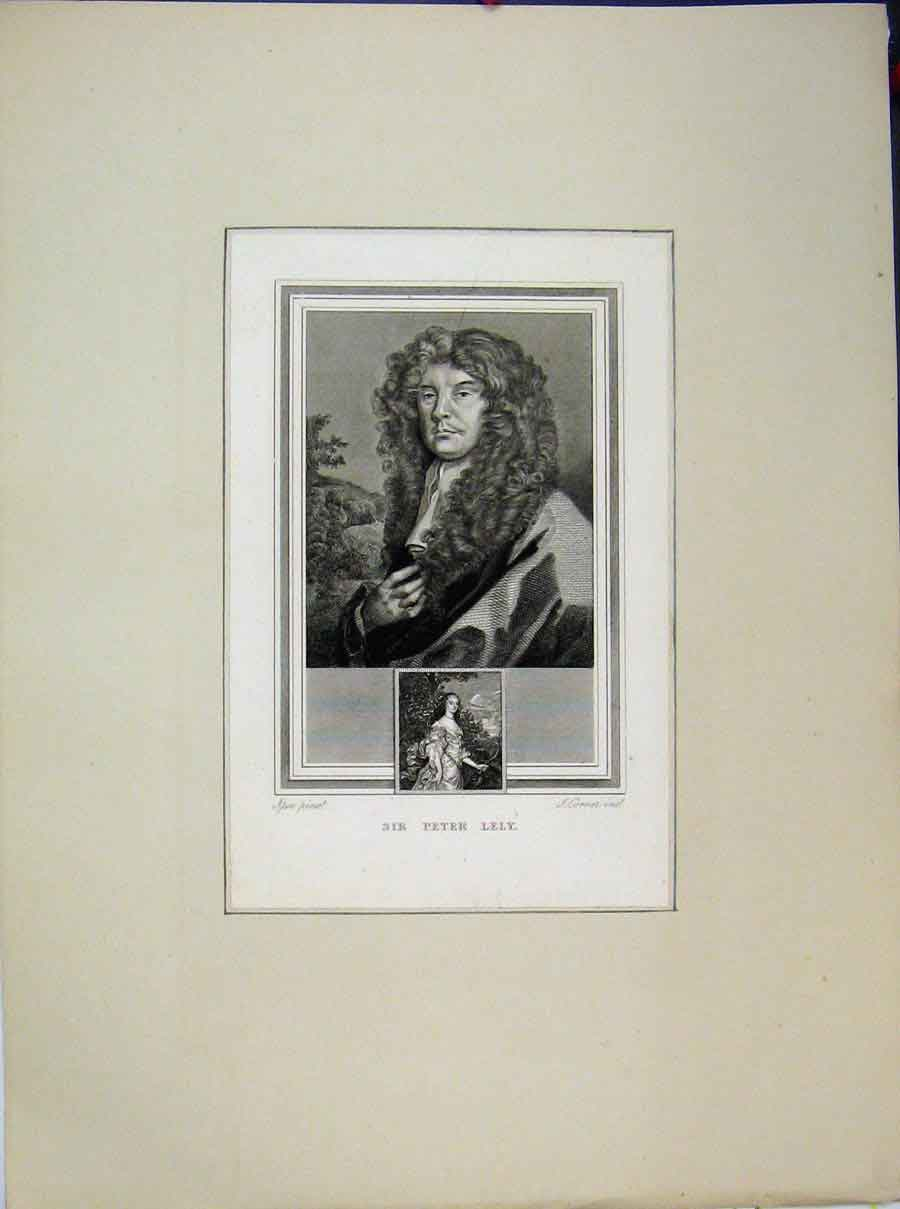 Print Sir Peter Lely Portrait Curly Hair 631A189 Old Original