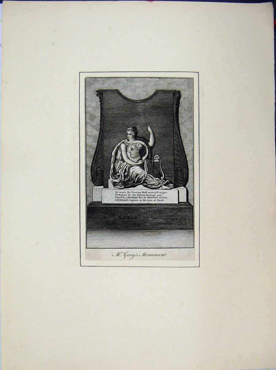 Print Portrait Mr Thomas Grays Monument 636A189 Old Original