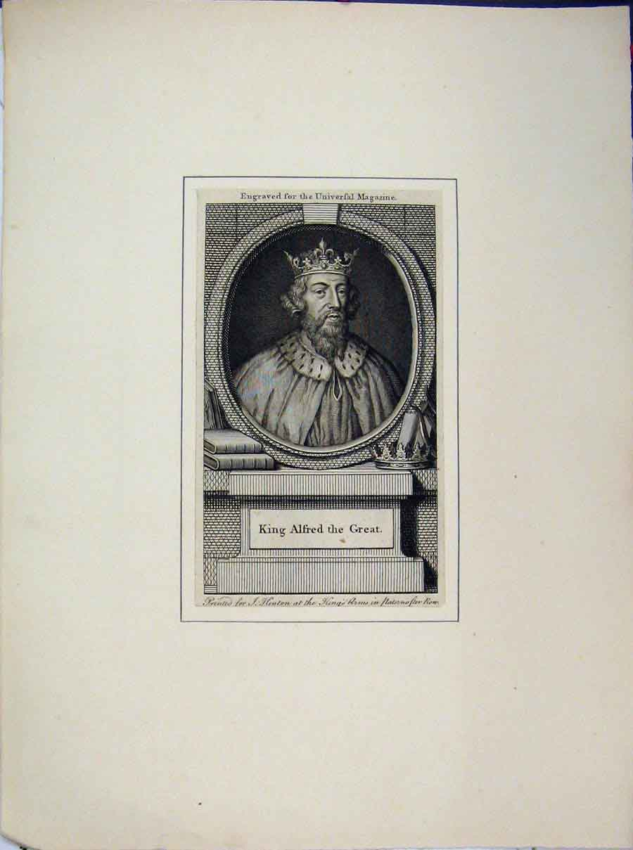 Print Portrait King Alfred Great Engraving Universal Magazine 640A189 Old Original