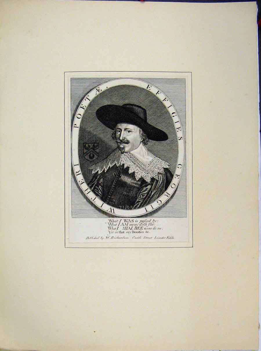Print Portrait Poet Effigies George Ii Witheri 653A189 Old Original