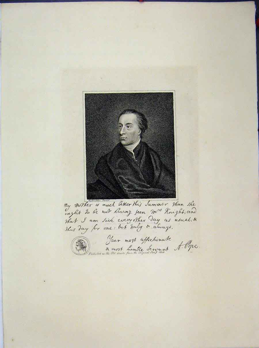 Print Portrait Man Letter 1806 Pope Mrs Knight 655A189 Old Original