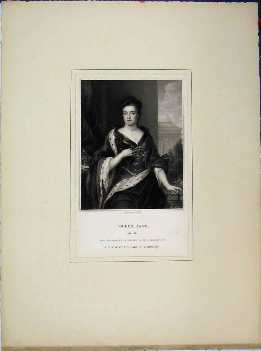 Print Portrait Queen Anne Kneller Earl Egremont 659A189 Old Original