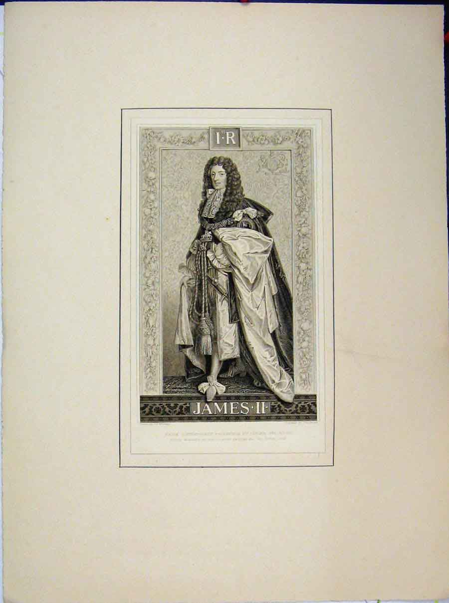Print Portrait King James Ii Engraving Loggan White Kneller 670A189 Old Original