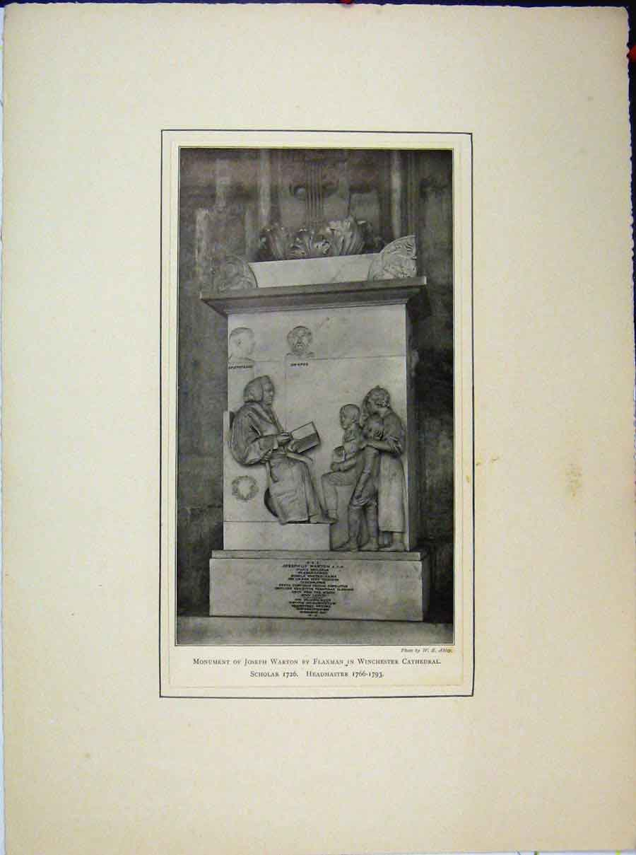 Print Monument Joseph Warton Flaxman Winchester Cathedral 671A189 Old Original