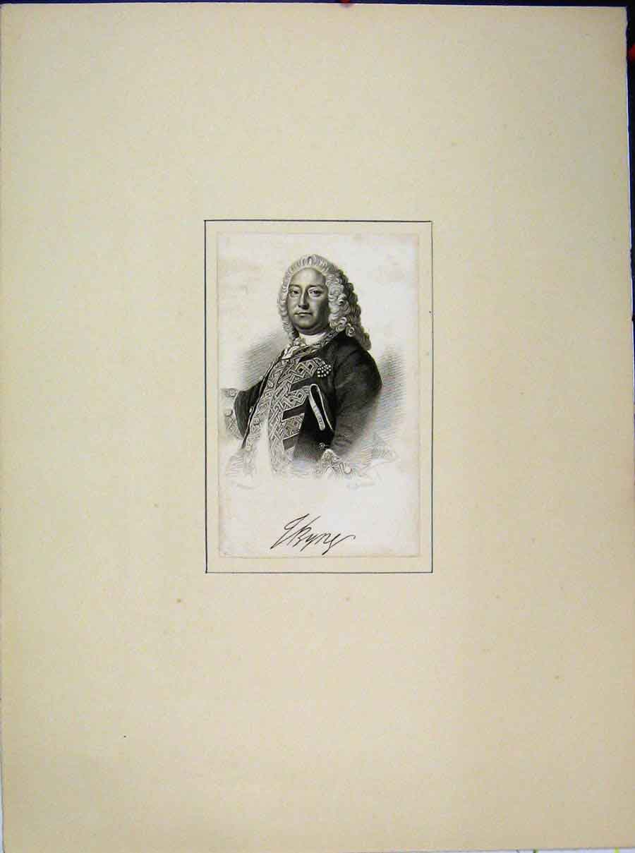 Print Portrait Man Curly Wig Jackman Engraving 676A189 Old Original
