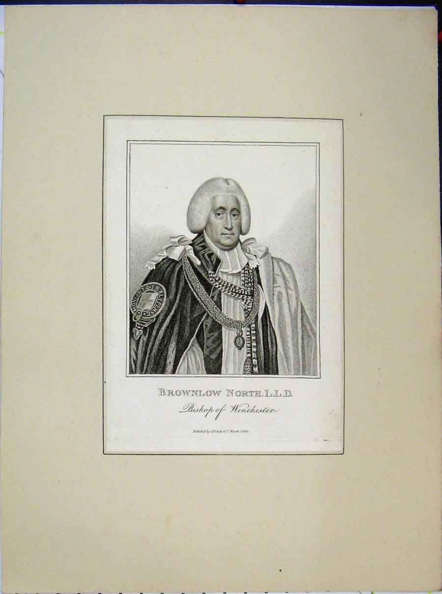 Print 1815 Portrait Brownlow North Bishop Winchester 686A189 Old Original