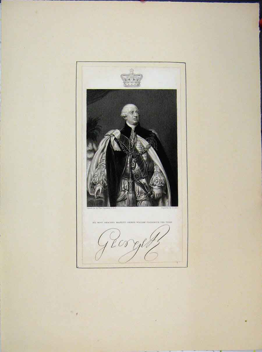 Print Portrait Majesty George William Frederick Third 689A189 Old Original