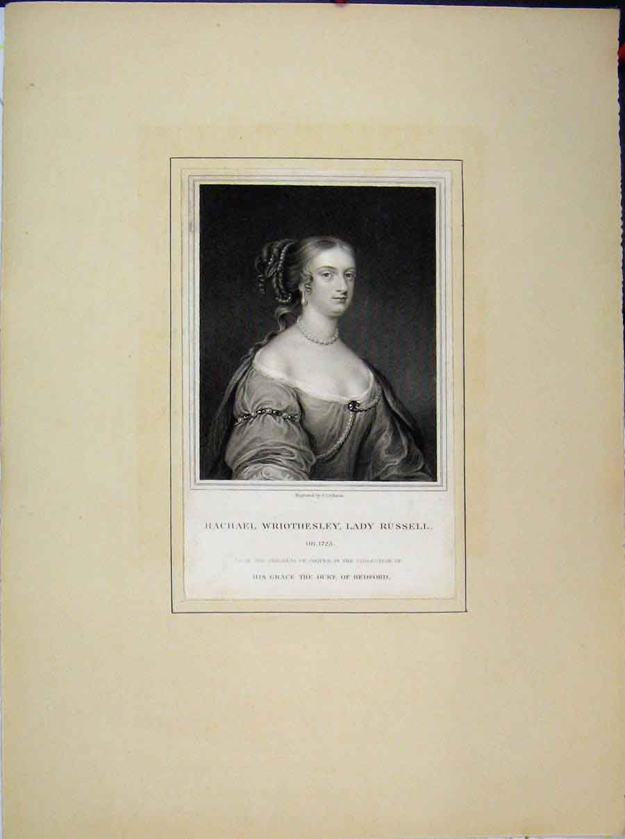 Print Portrait Rachael Wriothesley Lady Russell Bedford Duke 697A189 Old Original