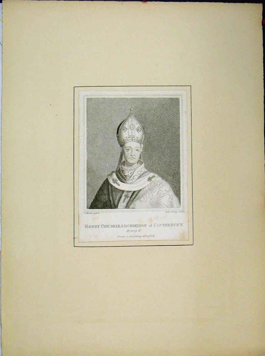 Print Henry Chichelle Archbishop Canterbury 704A189 Old Original