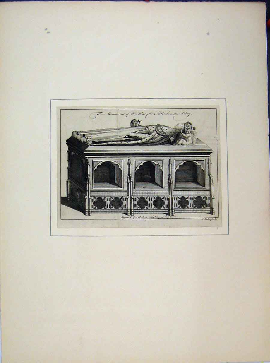 Print Monument Henry V Westminster Abbey Rider'S History 705A189 Old Original