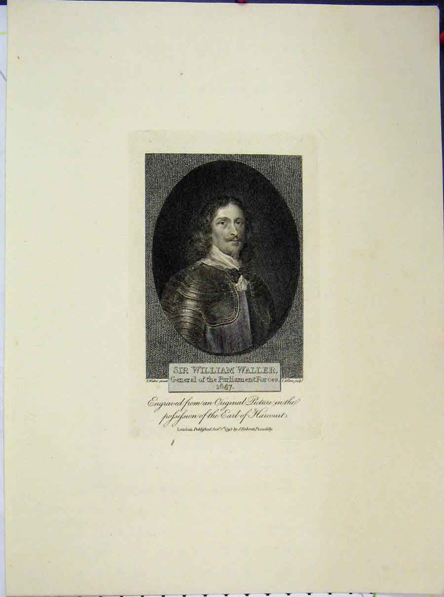 Print 1793 Portrait William Waller General Parliament Forces 710A189 Old Original