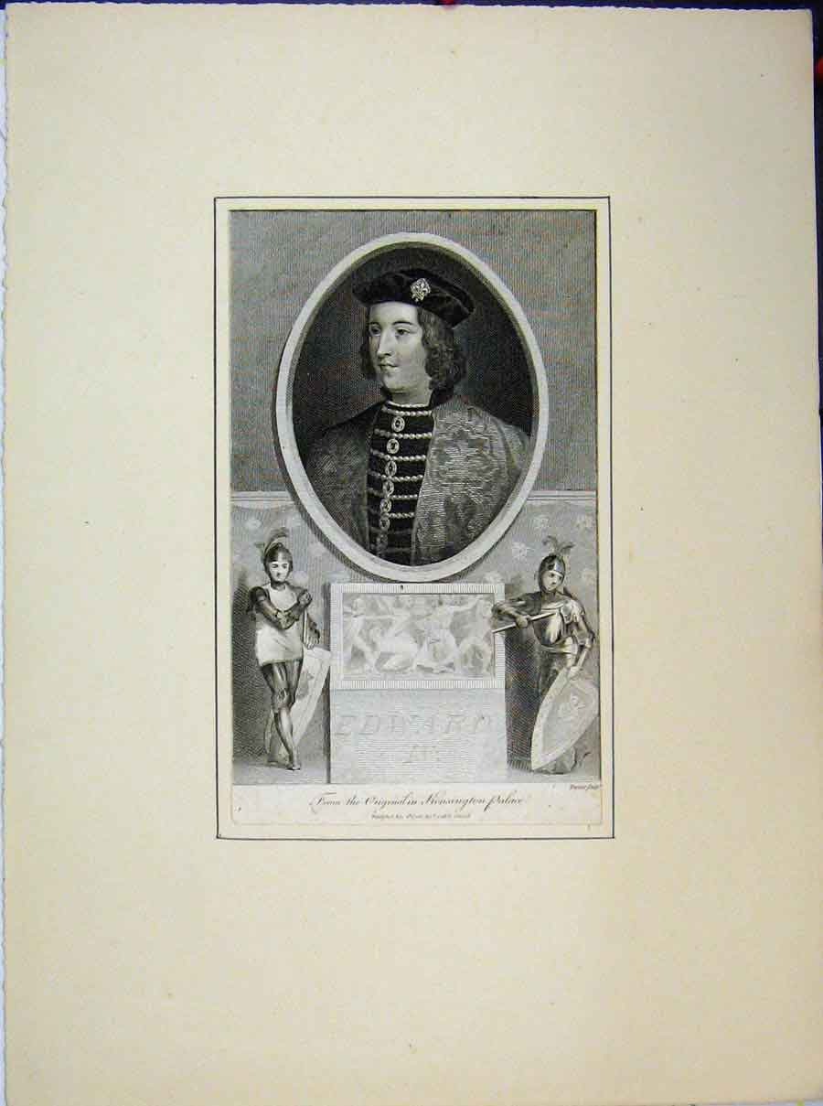 Print 1788 Portrait Edward Iv Kensington Palace Knights 711A189 Old Original