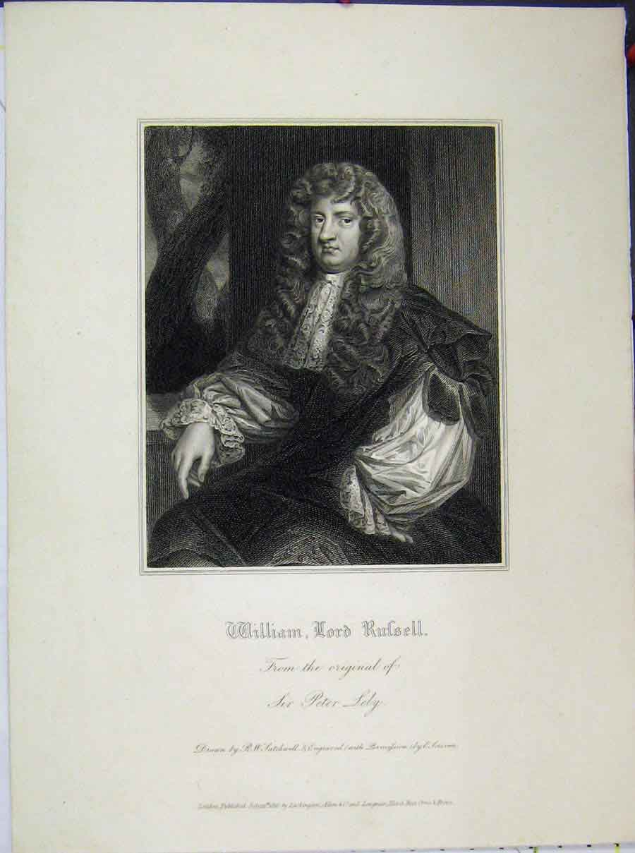 Print William Lord Russell 1816 Sir Peter Lely 715A189 Old Original