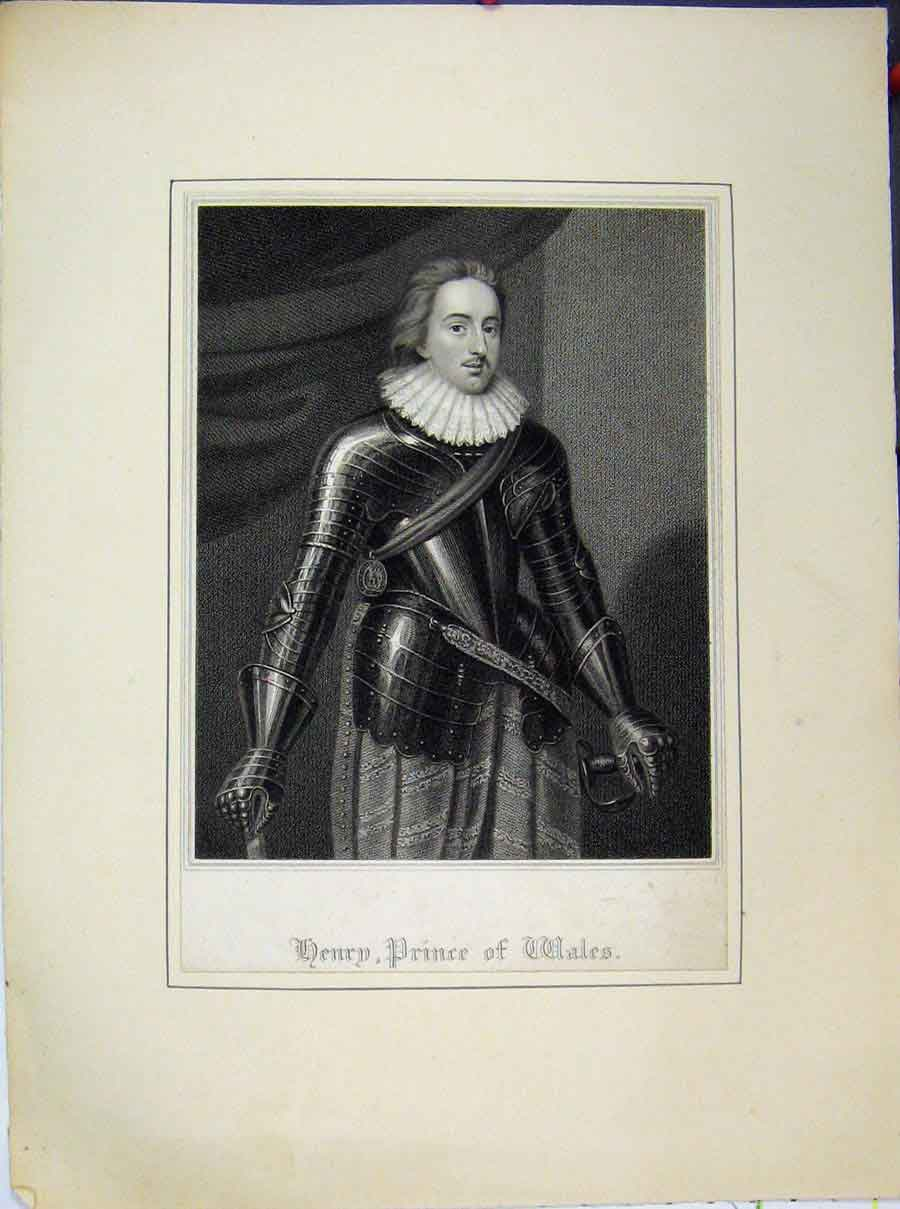 Print Henry Prince Wales Portrait Armour 718A189 Old Original