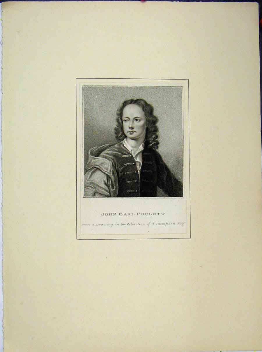 Print Portrait John Earl Poulett Drawing Thomson 723A189 Old Original