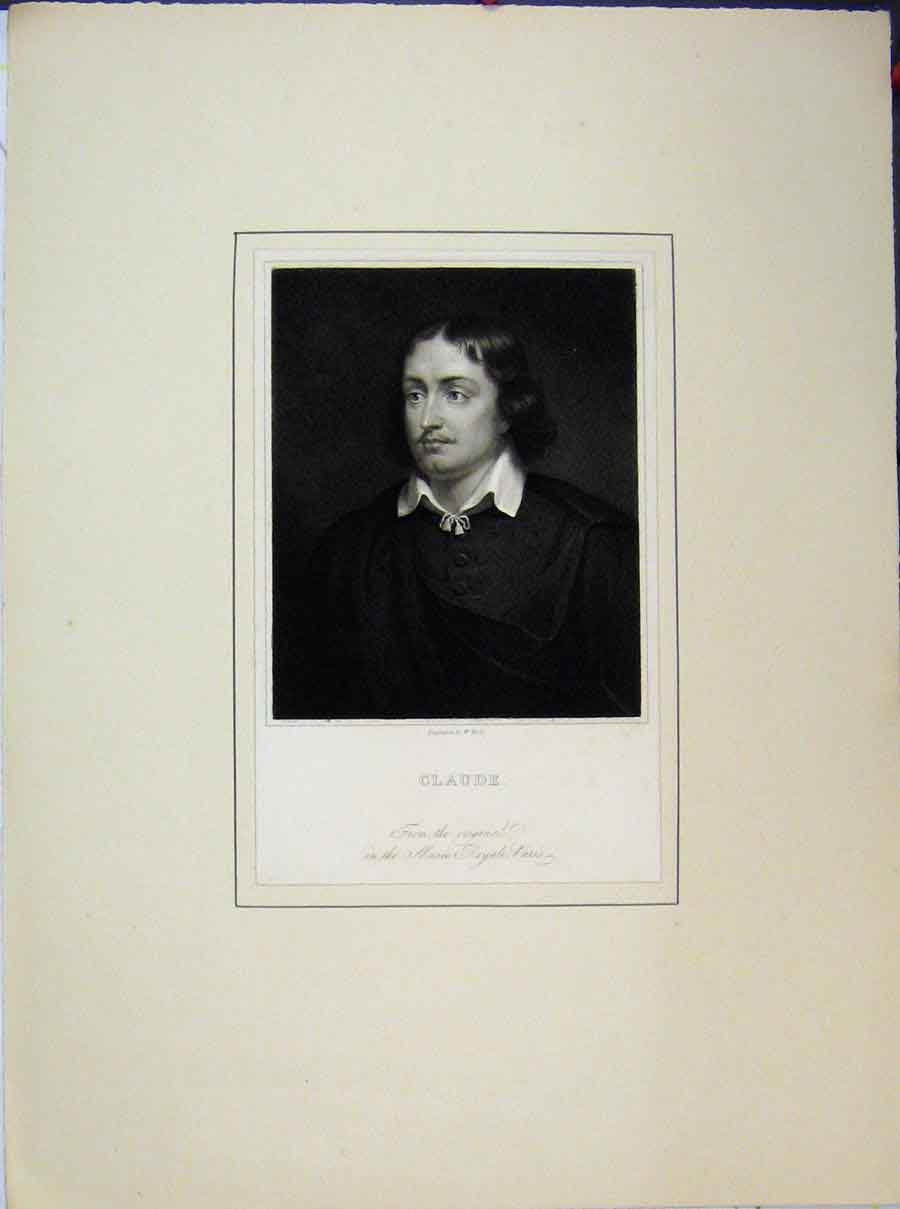 Print Portrait Claude Man Musee Royale Paris 725A189 Old Original