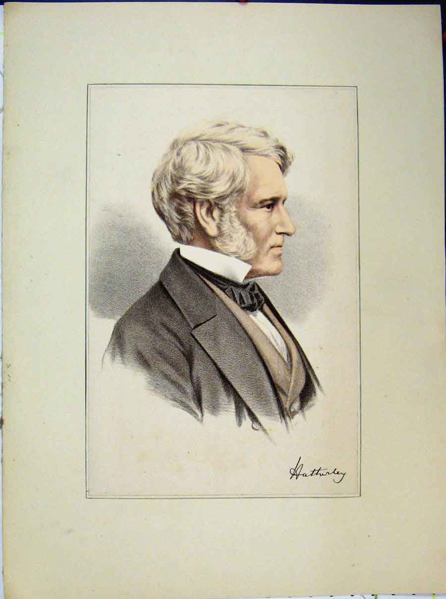Print Portrait White Haired Man Suit Bow Tie Coloured 726A189 Old Original
