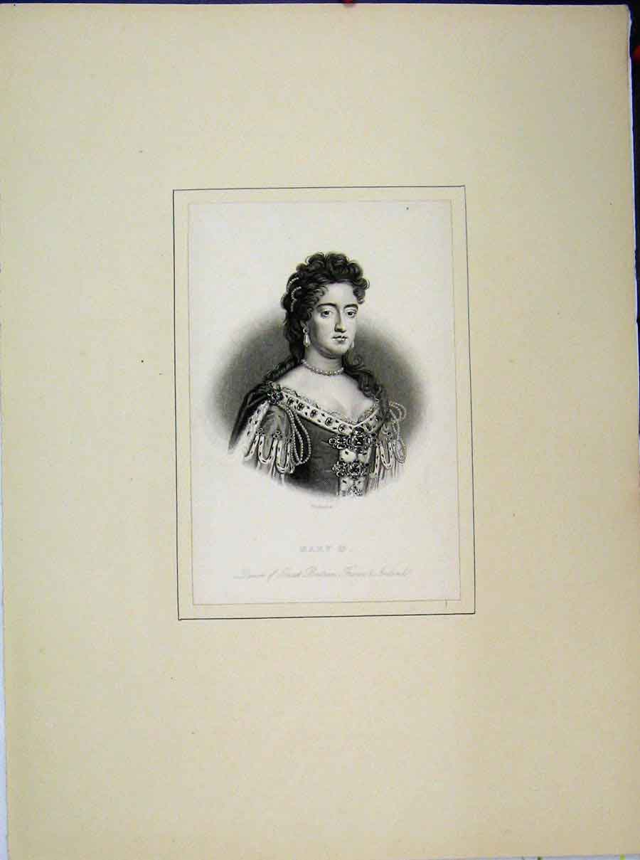 Print Queen Mary Portrait Queen Great Britain Ireland France 728A189 Old Original