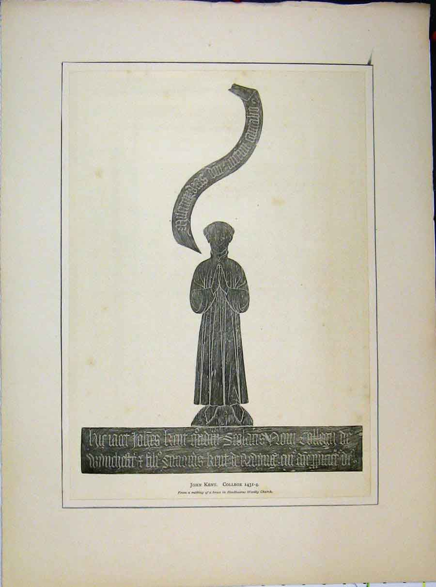 Print John Kent Rubbing Brass Headbourne Worthy Church 732A189 Old Original