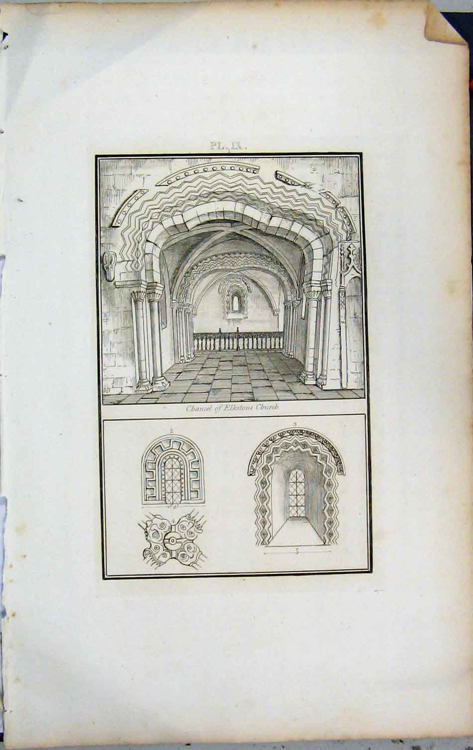 Print 1801 Lysons View Chancel Elkstone Church 404A191 Old Original