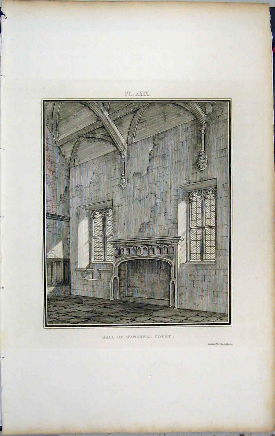 Print 1801 Lysons View Hall Wanswell Court Church 415A191 Old Original
