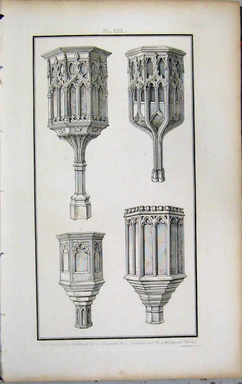 Print 1802 Lysons Stone Pulpits Northleach Cirencester Church 416A191 Old Original
