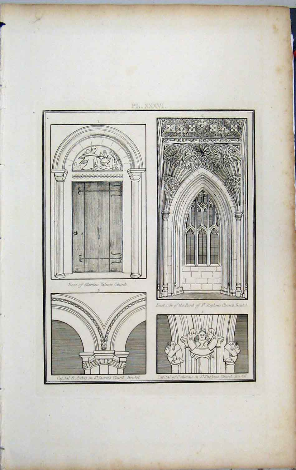 Print 1801 Lysons Door Moreton Church Stephen Bristol Arches 420A191 Old Original