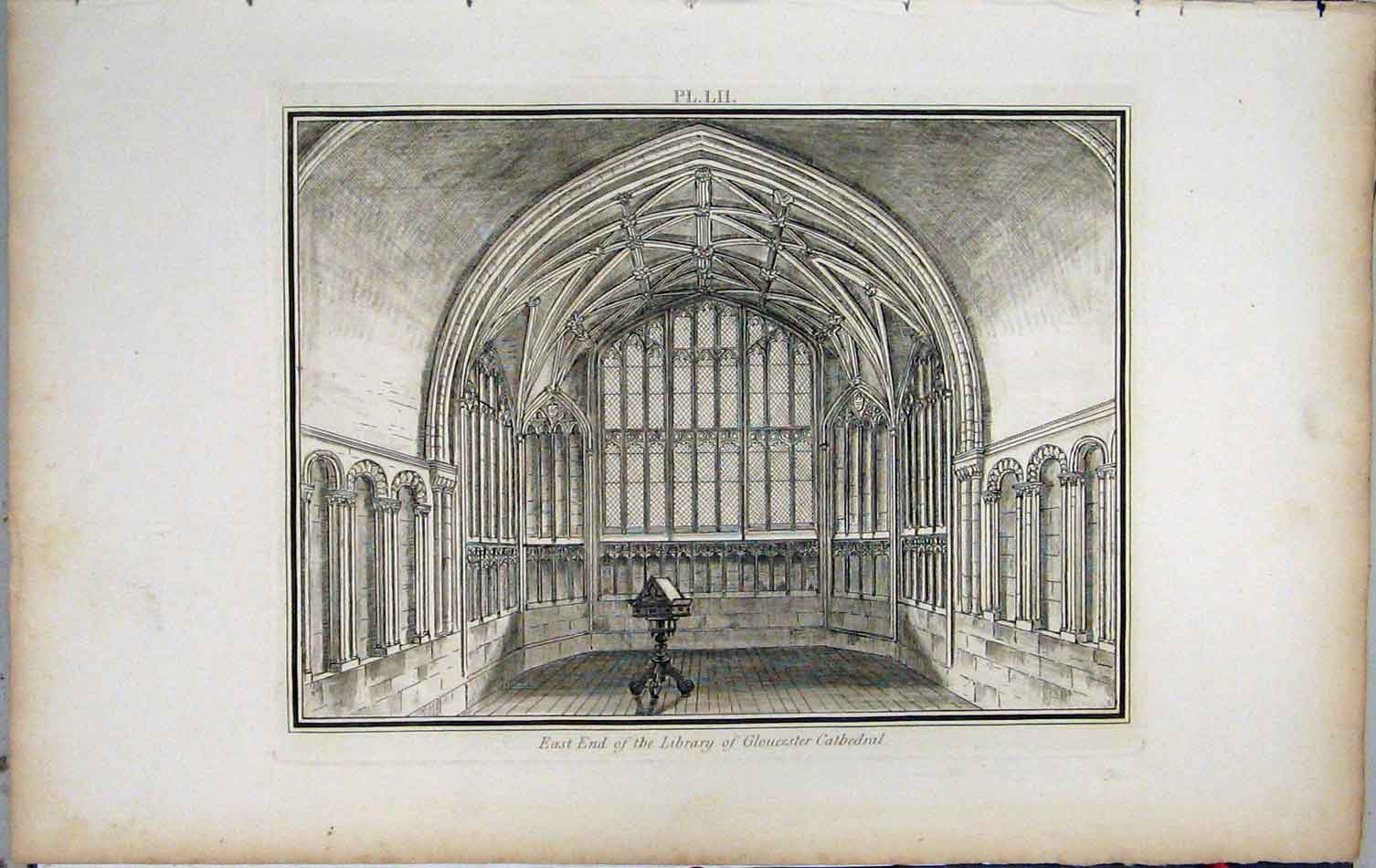 Print 1801 East End Library Gloucester Cathedral Lysons 432A191 Old Original
