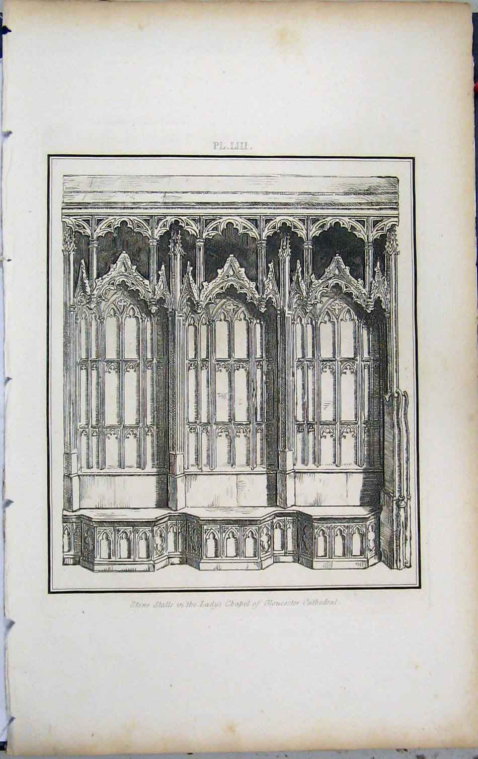 Print 1801 Stone Stalls Lady Chapel Gloucester Cathedral 433A191 Old Original
