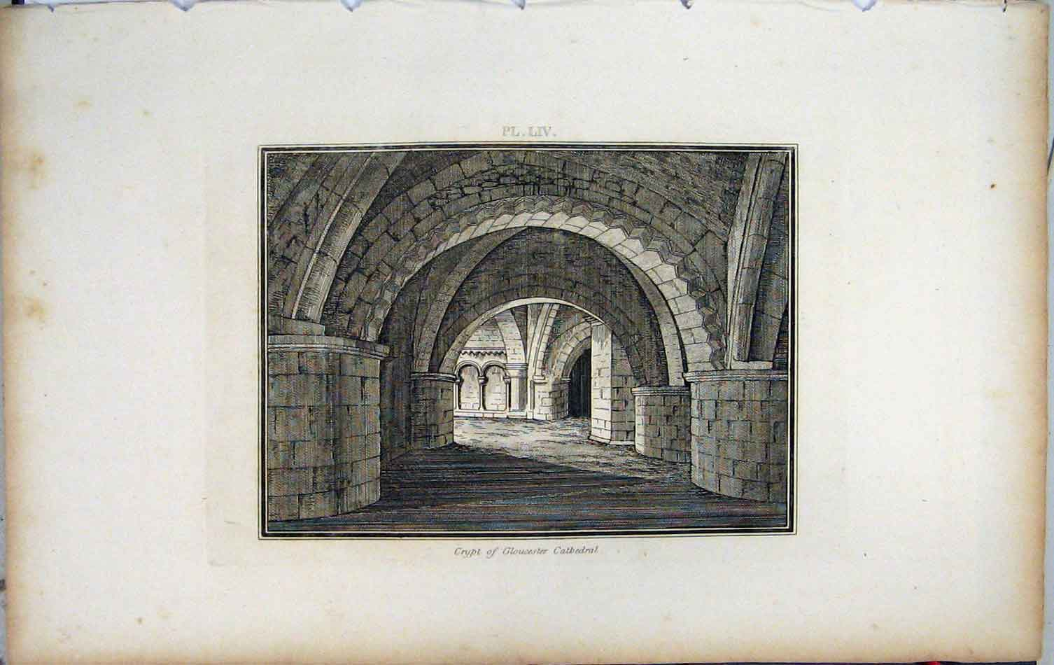 Print 1801 Lysons View Crypt Gloucester Cathedral 434A191 Old Original