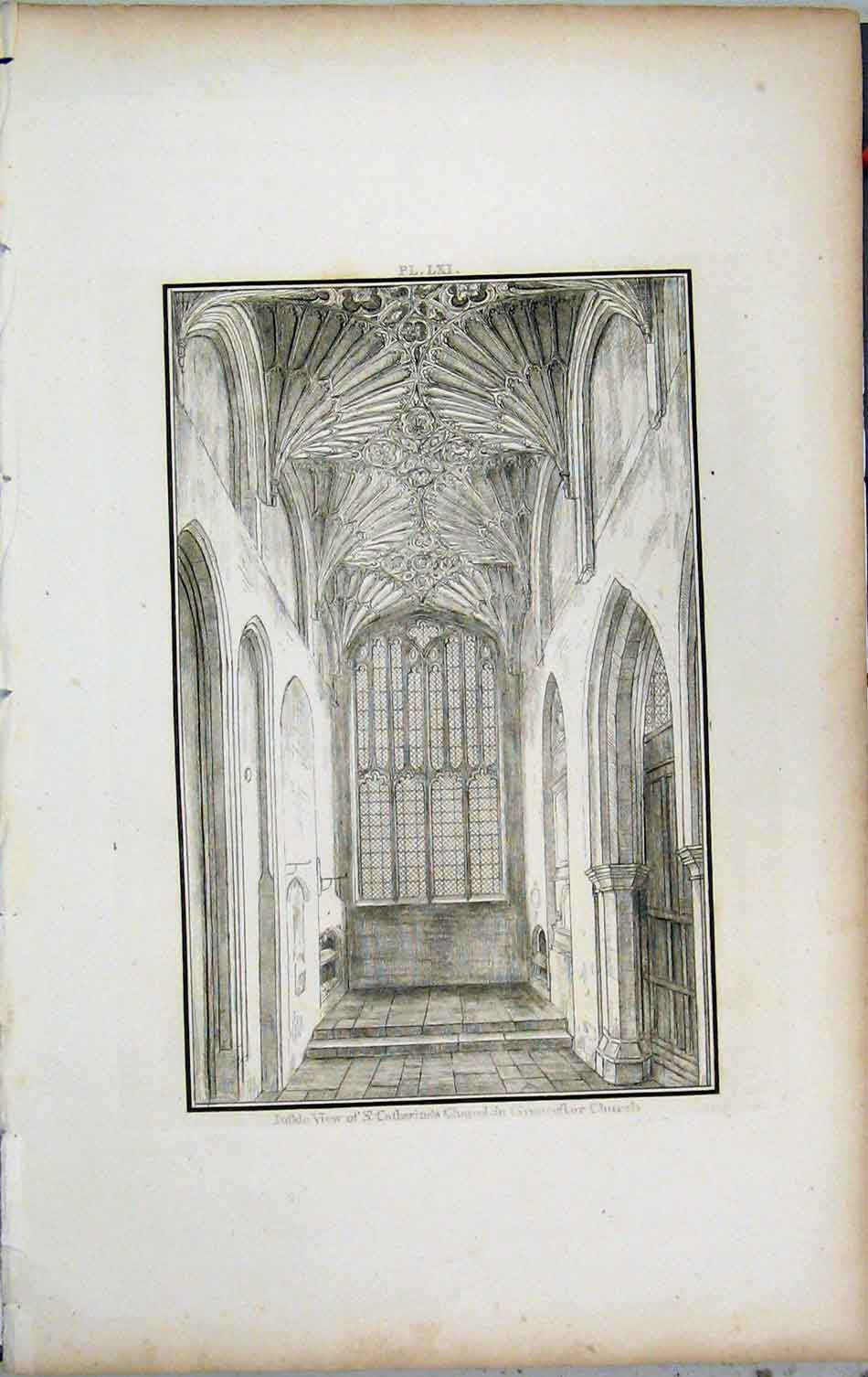 Print 1801 Lysons View St Catharine Chapel Cirencester Church 440A191 Old Original