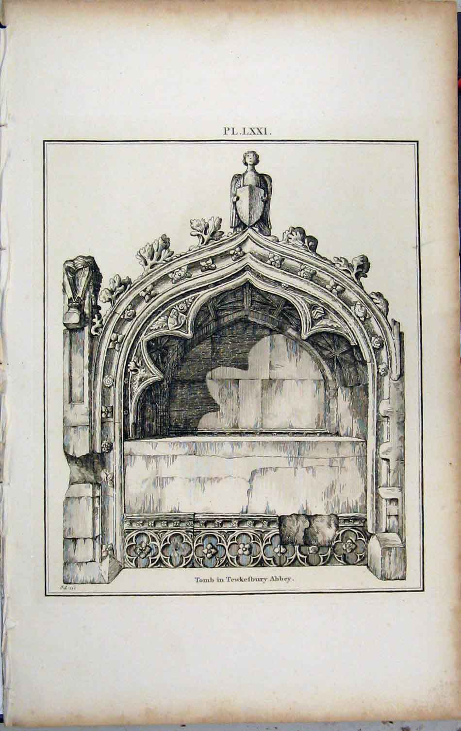 Print 1801 View Tomb Tewkesbury Abbey Church 444A191 Old Original