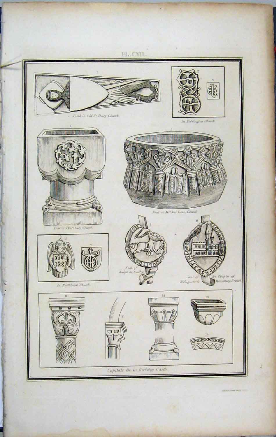 Print 1803 Lysons Berkeley Castle Tomb Sodbury Font Sudley 451A191 Old Original