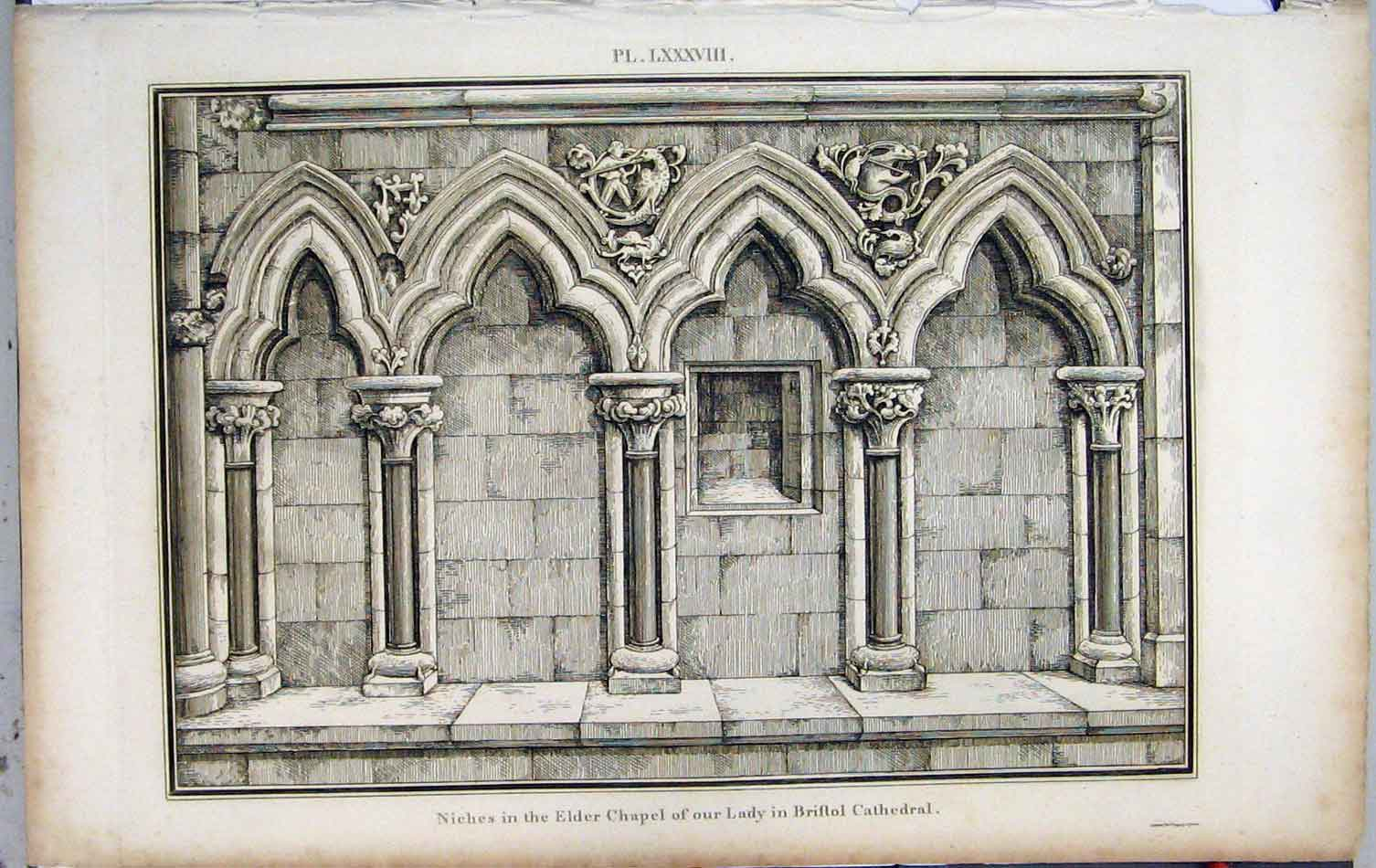 Print 1799 Lysons Niches Elder Chapel Lady Bristol Cathedral 454A191 Old Original