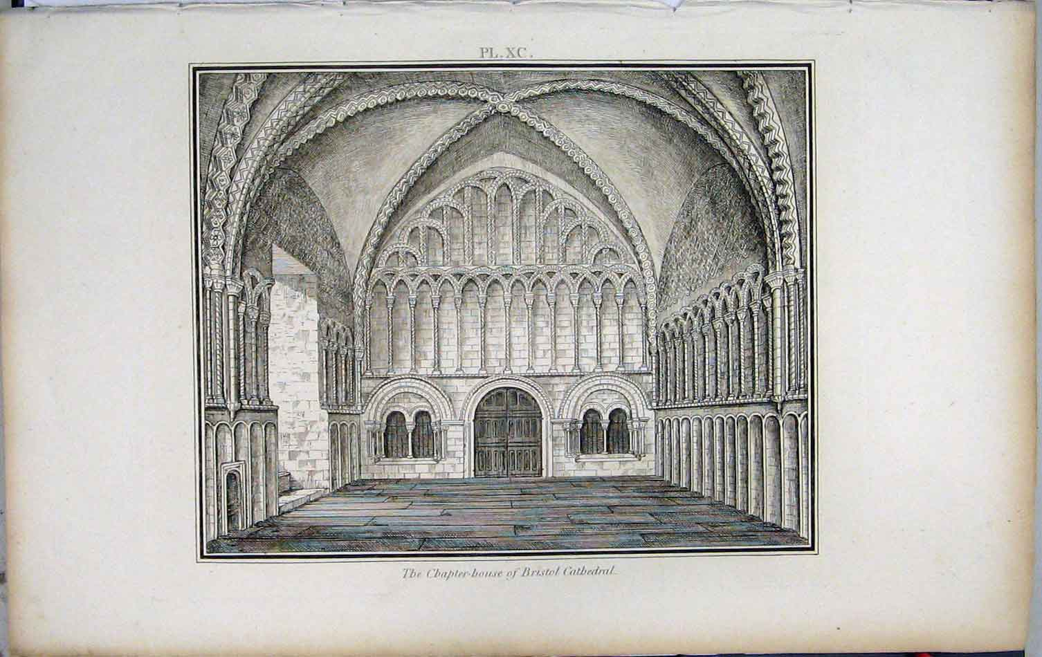 Print 1801 Lysons Chapter-House Bristol Cathedral 456A191 Old Original