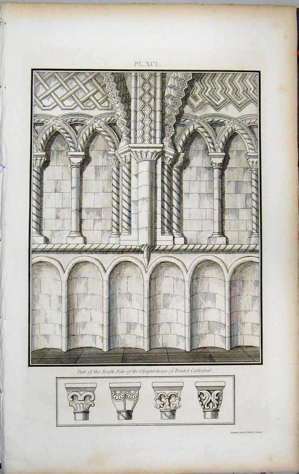 Print South Side Chapter-House Bristol Cathedral 1801 Lysons 457A191 Old Original