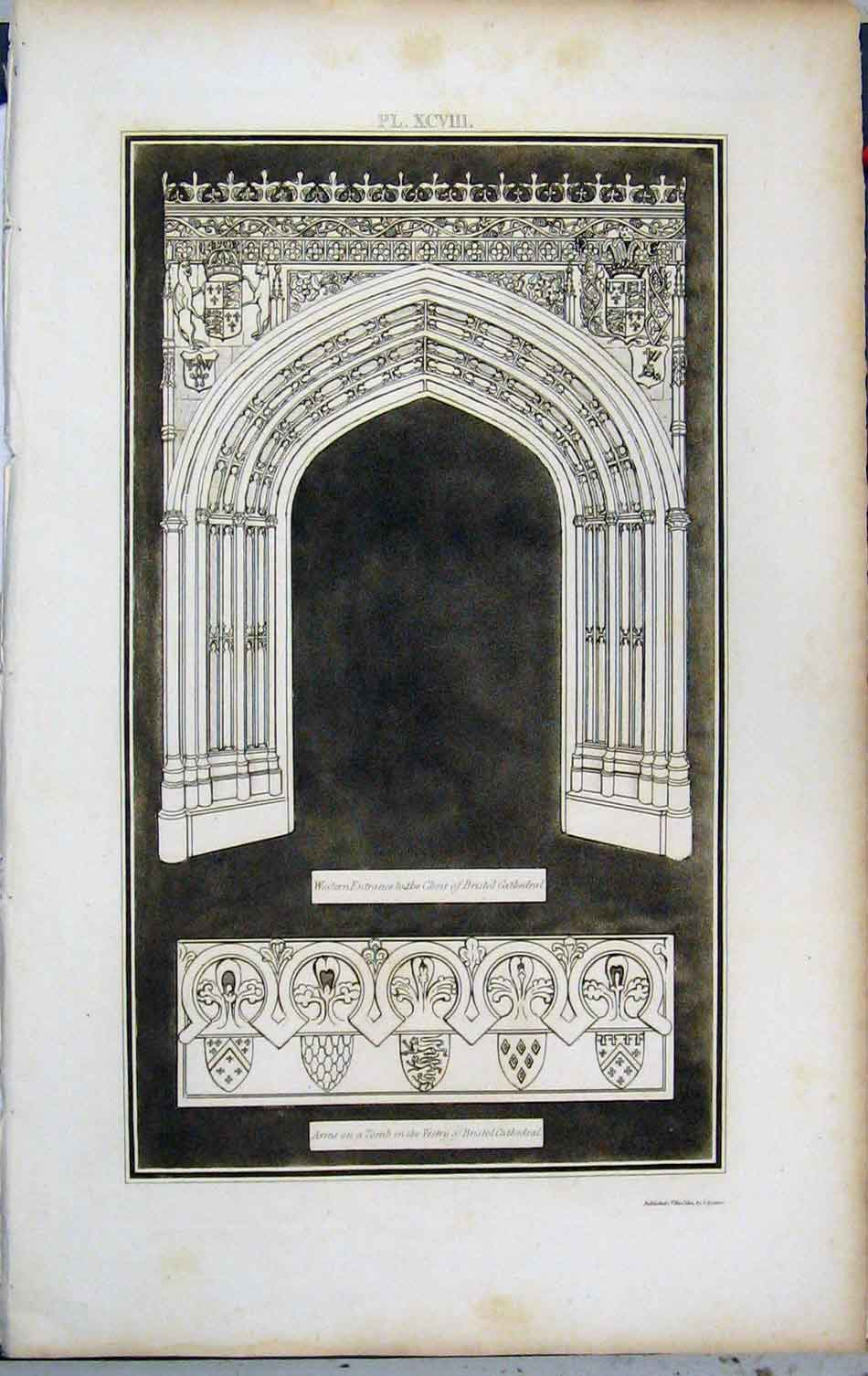 Print 1802 Lysons Elder Chapel Lady Bristol Cathedral 465A191 Old Original