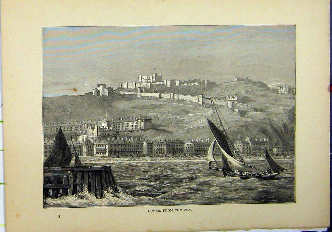 Print 1898 View Dover Sea Boat Buildings Castle 210A193 Old Original