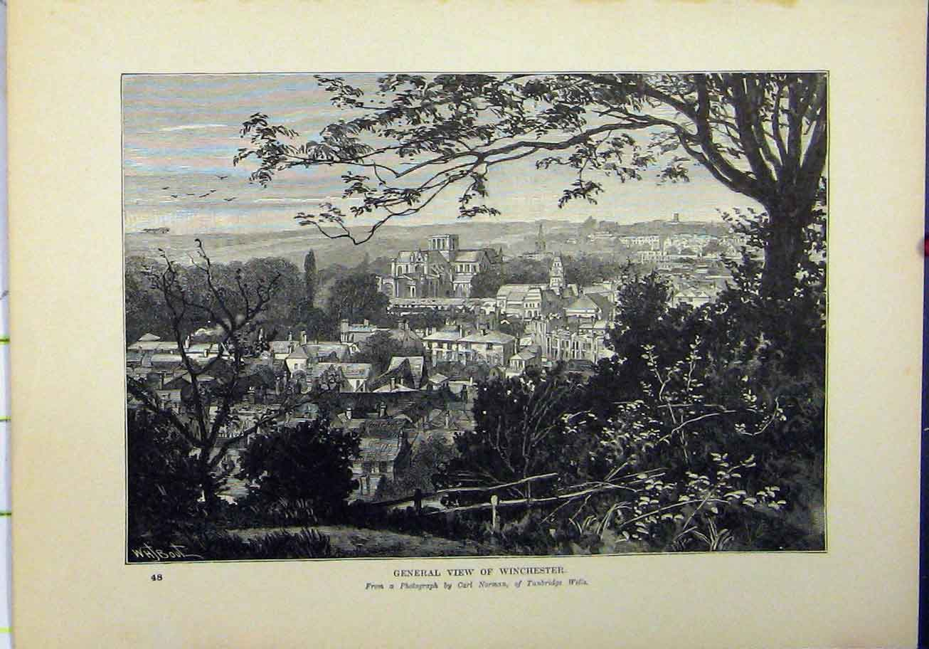 Print 1898 General View Winchester Town Carl Norman 213A193 Old Original