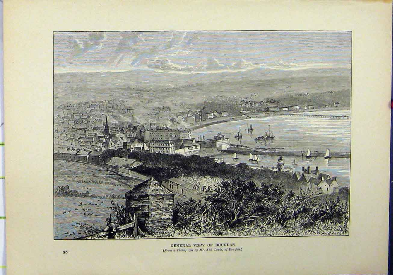 Print 1898 General View Douglas Isle Man Boats Town 215A193 Old Original