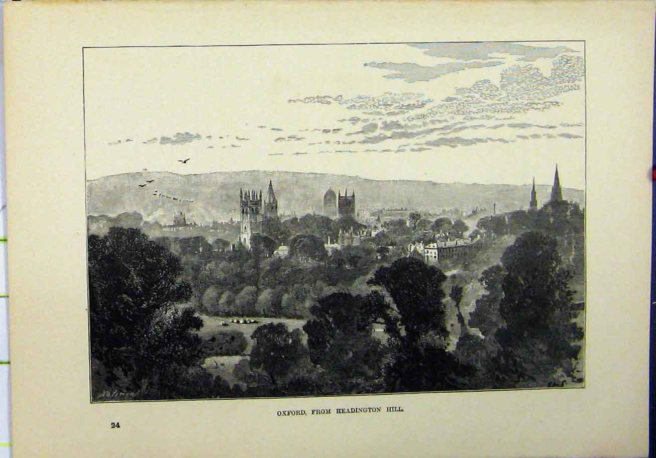 Print 1898 View Oxford Headington Hill Tower Country Scene 224A193 Old Original