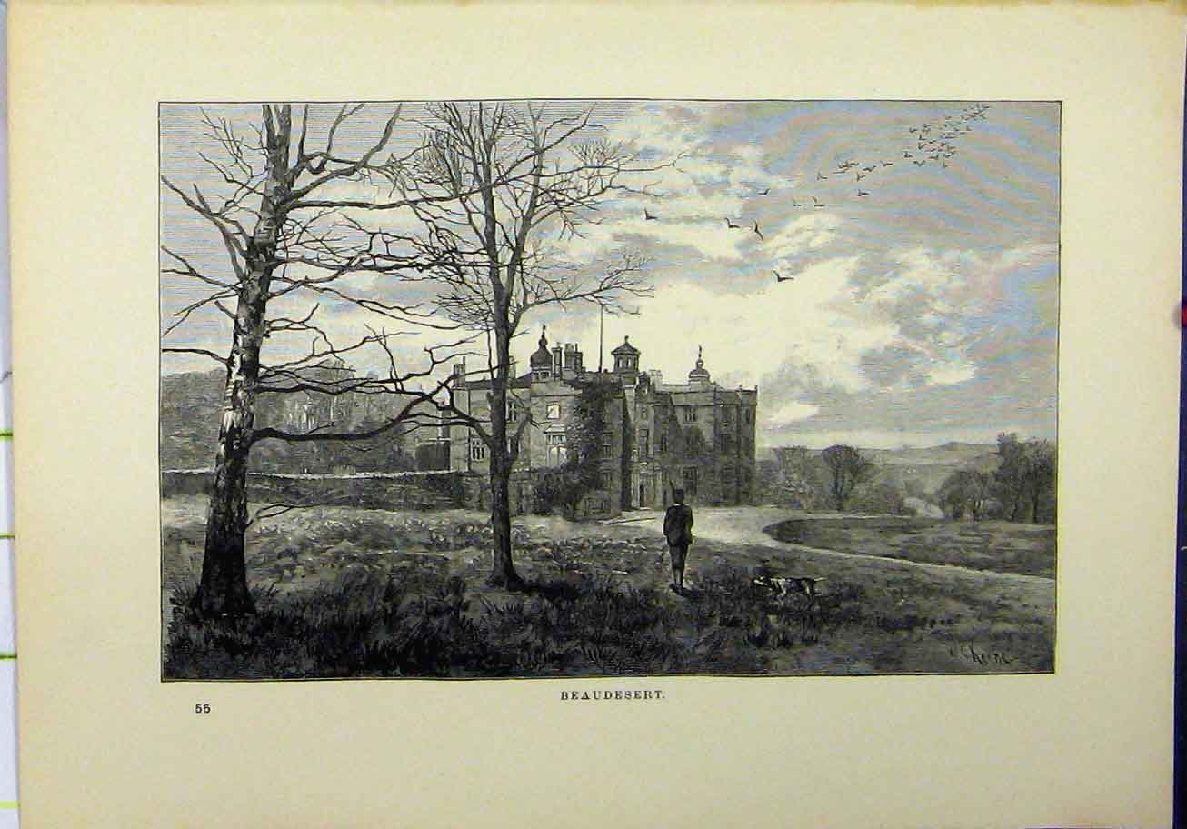 Print View Beaudesert 1898 Country Scene House Social History 245A193 Old Original