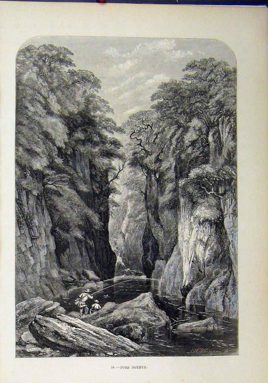 Print View Fors Nothyn Men Fishing Cliffs Trees Country Scene 254A193 Old Original