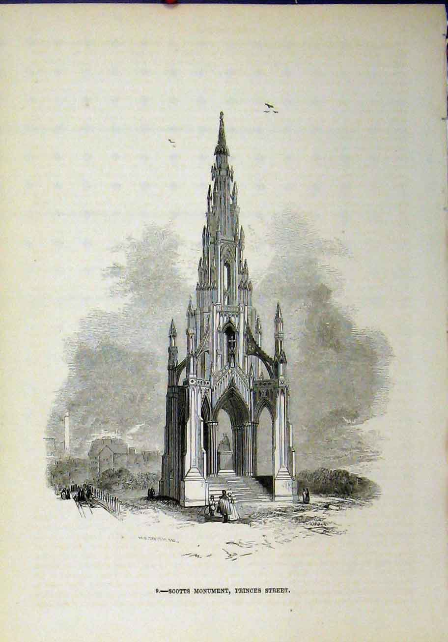 Print Scotts Monument Princes Street Edinburgh Scotland 268A193 Old Original