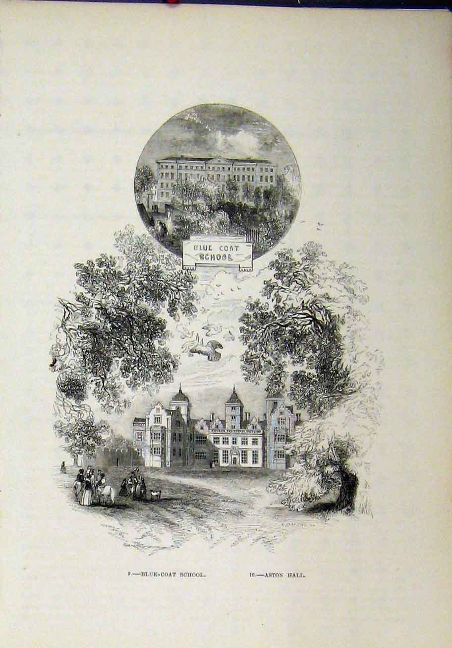 Print View Blue Coat School Aston Hall Buildings 274A193 Old Original