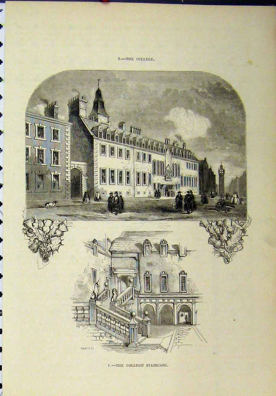 Print Exterior View College Interior Staircase Building 280A193 Old Original