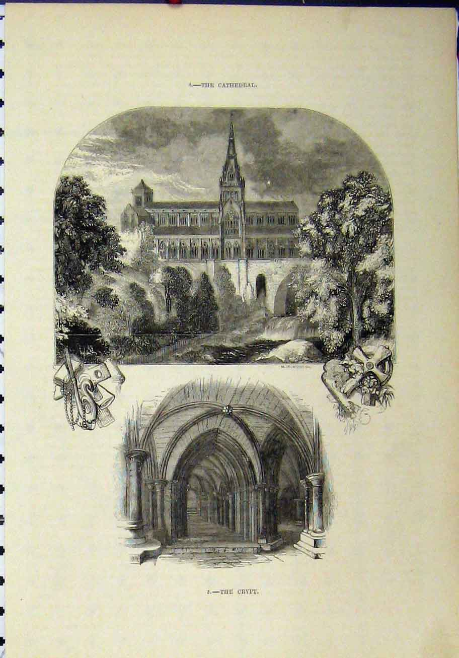 Print View Cathedral Interior Crypt Jackson 281A193 Old Original