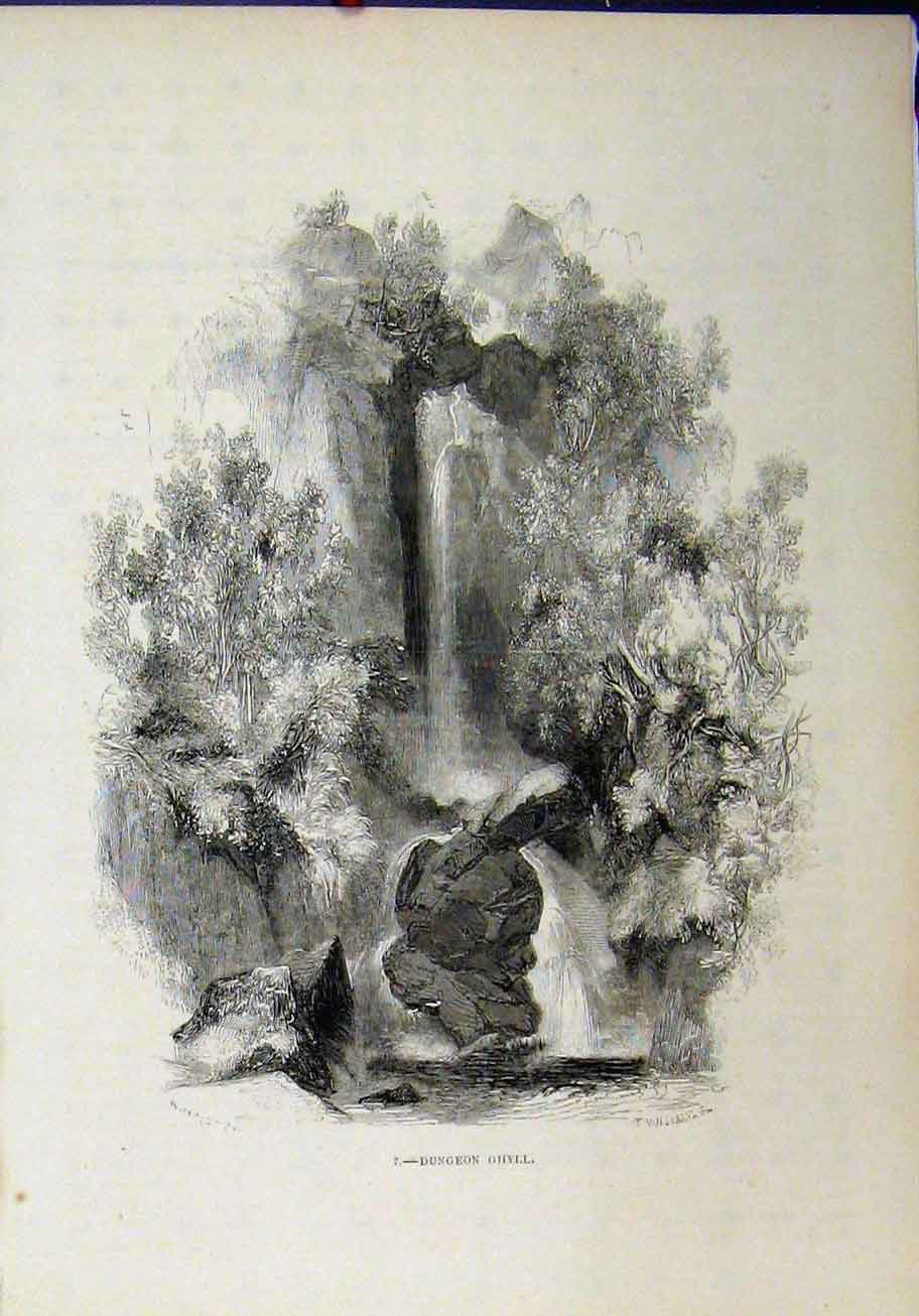 Print View Dungeon Ghyll Waterfall Cliffs 284A193 Old Original